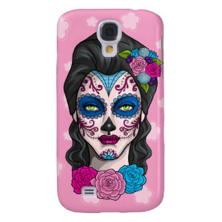Day of the Dead Calavera Girl in Blue and Pink Samsung Galaxy S4 Case