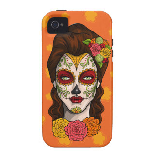 Day of the Dead Calavera Girl in Orange iPhone 4/4S Cover