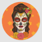Day of the Dead Calavera Girl in Orange Classic Round Sticker