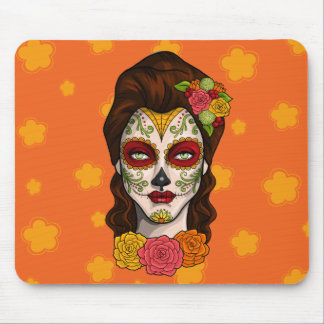 Day of the Dead Calavera Girl in Orange Mouse Pad