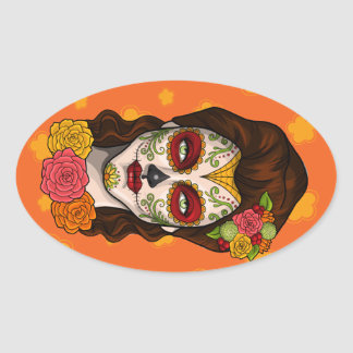 Day of the Dead Calavera Girl in Orange Oval Sticker