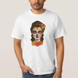 Day of the Dead Calavera Girl in Orange Tee Shirt