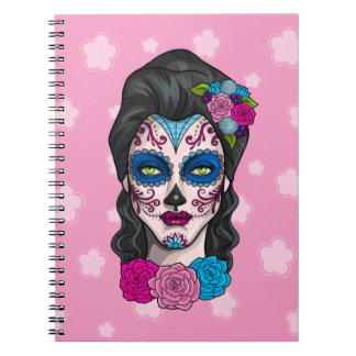 Day of the Dead Calavera Girl in Pink and Blue Spiral Note Book