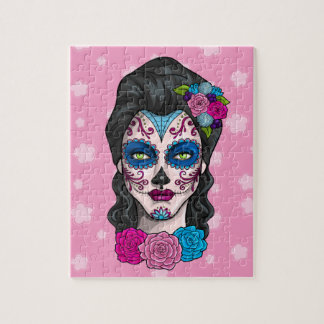 Day of the Dead Calavera Girl in Pink and Blue Jigsaw Puzzle