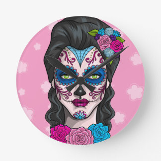 Day of the Dead Calavera Girl in Pink and Blue Round Clock