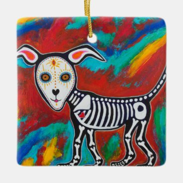 Halloween Themed Day of the Dead Cat and Dog Ceramic Ornament