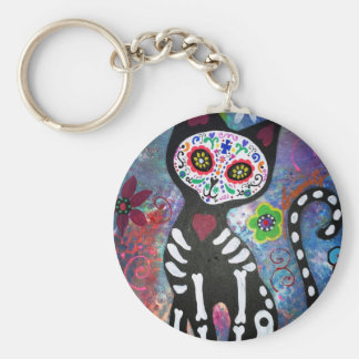 Day of the Dead Cat by Prisarts Keychains