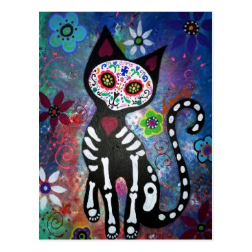 prisarts Day of the Dead Cat by Prisarts Postcard