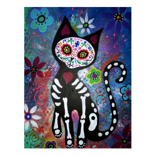 Day of the Dead Cat by Prisarts Post Card