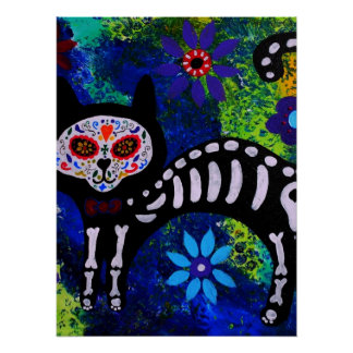Day of the Dead CAT KITTY  Painting by Prisarts Poster