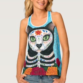 Day of the Dead Cat Racerback Tank Top