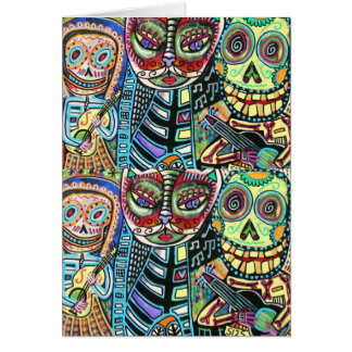 Day Of The Dead Cat Serenade Cards