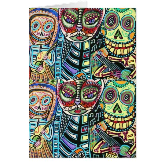 Day Of The Dead Cat Serenade Card