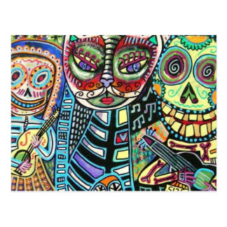 Day Of The Dead Cat Serenade Postcard