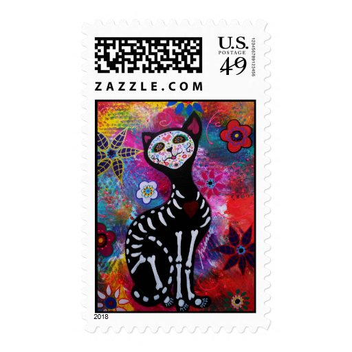 Day of the Dead Cat Stamp Stamp