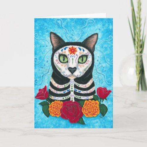 Day of the Dead Cat Sugar Skull Art Card