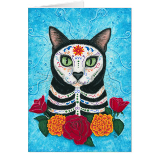 Day of the Dead Cat Sugar Skull Art Card
