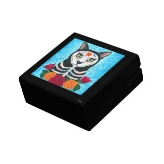 Day of the Dead Cat Sugar Skull Art Gift Box