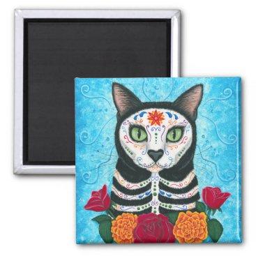 TigerpixieArt Day of the Dead Cat Sugar Skull Art Magnet