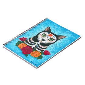 Day of the Dead Cat Sugar Skull Art Notebook