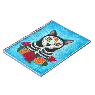 Day of the Dead Cat Sugar Skull Art Notebook