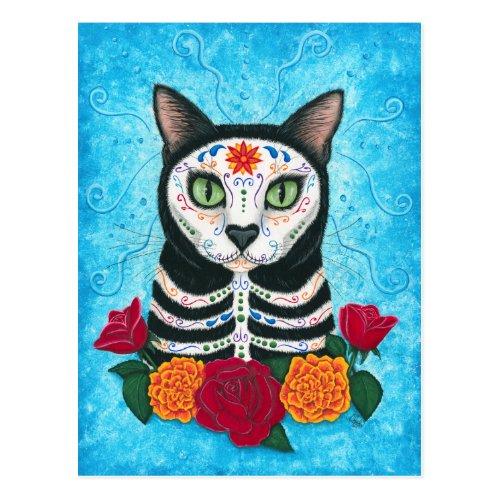 Day of the Dead Cat Sugar Skull Art Postcard