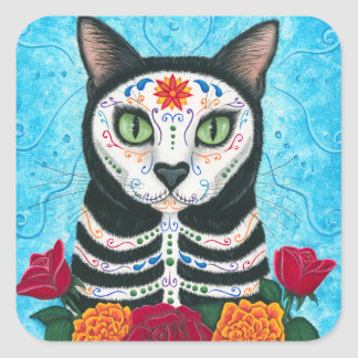 Day of the Dead Cat Sugar Skull Art Sticker