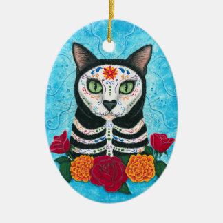 Day of the Dead Cat Sugar Skull Cat Art Ceramic Ornament