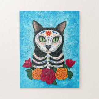 Day of the Dead Cat Sugar Skull Cat Art Jigsaw Puzzles