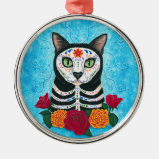 Day of the Dead Cat Sugar Skull Cat Art Metal Ornament