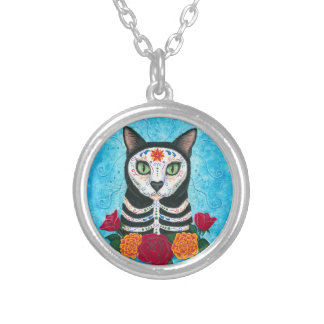 Day of the Dead Cat Sugar Skull Cat Art Personalized Necklace