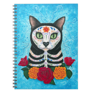 Day of the Dead Cat Sugar Skull Cat Art Spiral Note Book