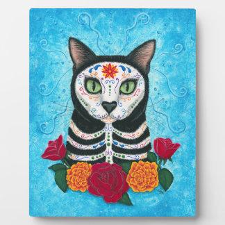 Day of the Dead Cat Sugar Skull Cat Art Plaque