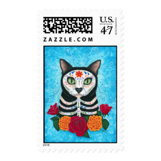 Day of the Dead Cat, Sugar Skull Cat Art Postage
