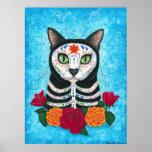 Day of the Dead Cat, Sugar Skull Cat Art Poster
