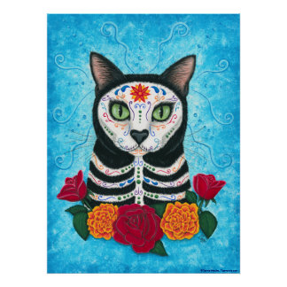 Day of the Dead Cat, Sugar Skull Cat Art Poster