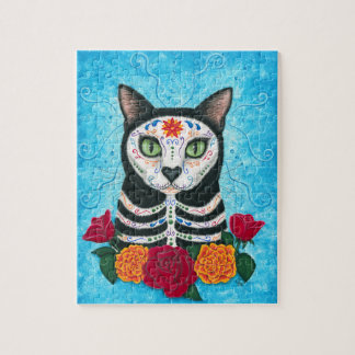 Day of the Dead Cat, Sugar Skull Cat Art Puzzle