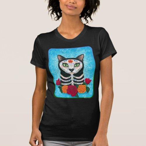 Day of the Dead Cat Sugar Skull Cat Art Shirt