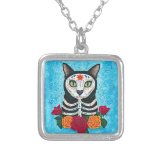 Day of the Dead Cat Sugar Skull Cat Art Silver Plated Necklace