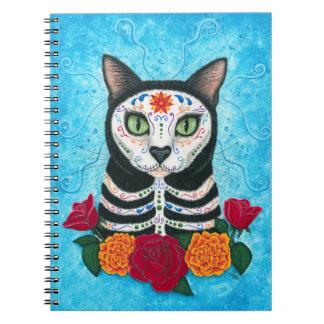 Day of the Dead Cat Sugar Skull Cat Art Spiral Notebook