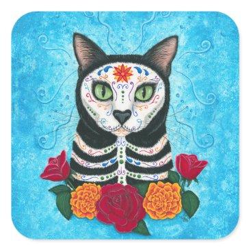 TigerpixieArt Day of the Dead Cat Sugar Skull Cat Art Square Sticker