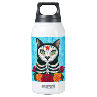 Day of the Dead Cat Sugar Skull Cat Art Thermos Water Bottle