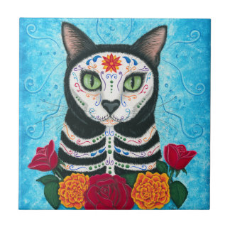 Day of the Dead Cat, Sugar Skull Cat Art Tile
