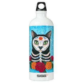 Day of the Dead Cat Sugar Skull Cat Art Water Bottle
