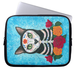 Day of the Dead Cat, Sugar Skull Cat Laptop Sleeve