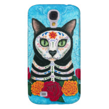 Day of the Dead Cat Sugar Skull iPhone 3G Case Samsung Galaxy S4 Case