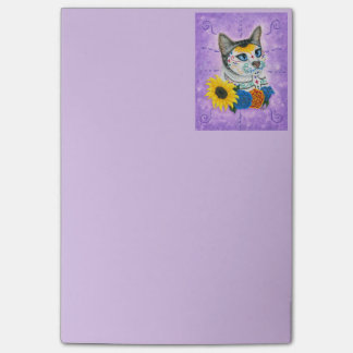 Day of the Dead Cat Sunflower Sugar Skull  Notepad
