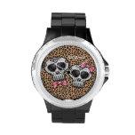 Day of the Dead Cheetah Skull Dia de los Muertos Watches