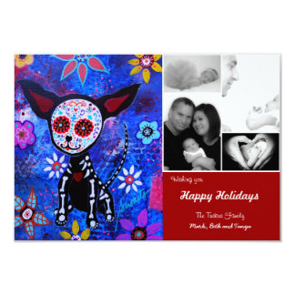 Day of the Dead Chihuahua Christmas Card Invites