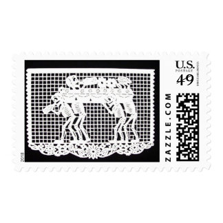 Day of the Dead - Coffin Carried by Skeletons Stamp